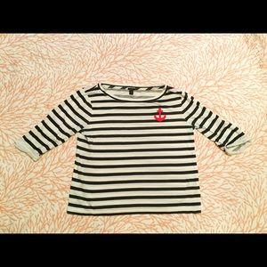 Jcrew top Navy and Cream Striped